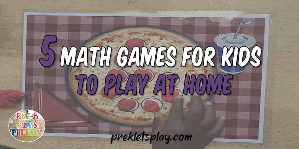 cover to describe the 5 math games for kids to play at home.