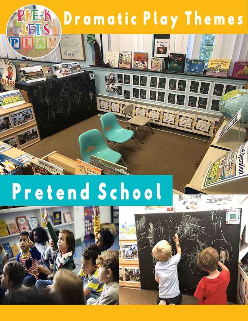Pretend school dramatic play theme cover. Created by Pre-K Let's Play. Buy this teacher resource at my teachers pay teachers store.