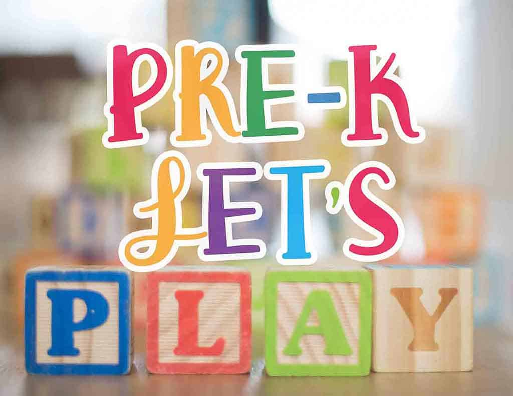 The official logo design for Pre-K Let's Play. We provide educational games, teacher resources, and pretend play ideas.