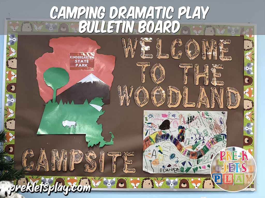 This preschool bulletin board display fits the camping dramatic play theme. It showcases your students' preschool art and woodland font letters. Great idea to use for classroom design.