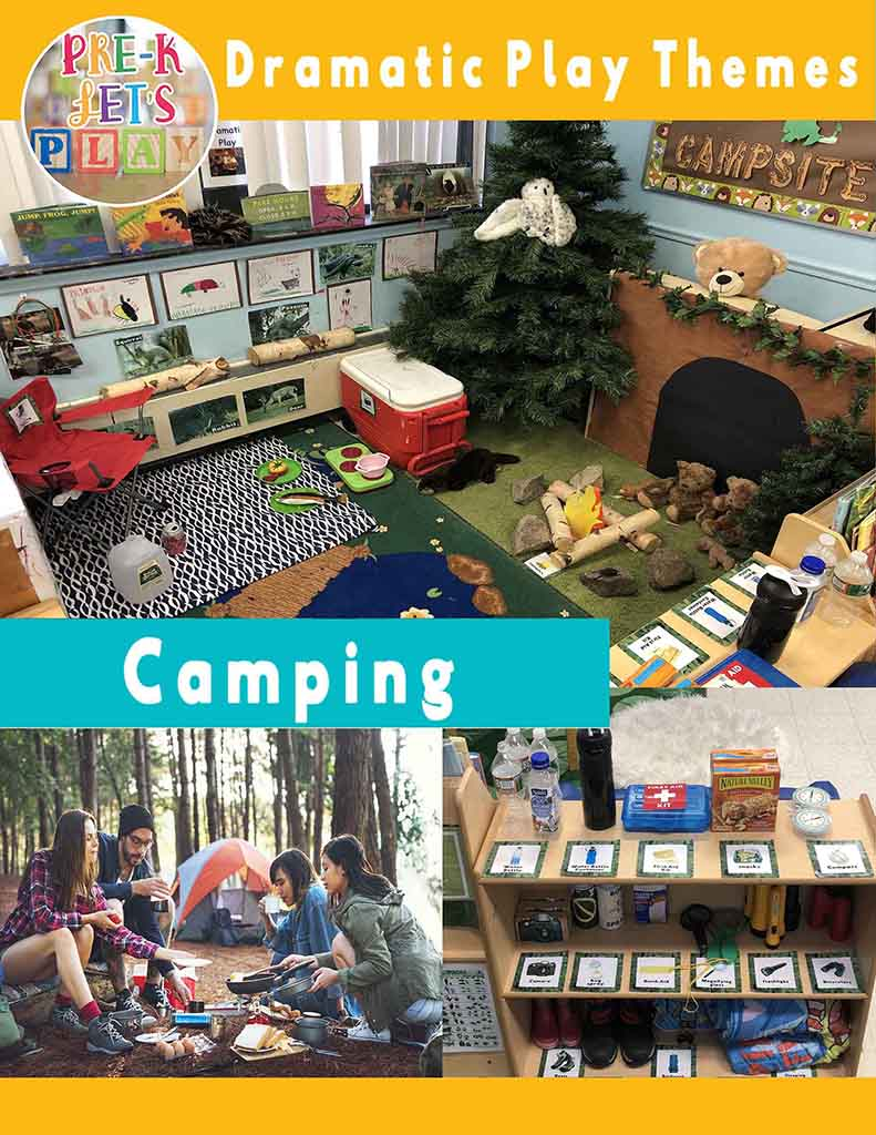 PreK Lets Play has created a dramatic play camping theme for preschoolers. Watch your students enjoy the great outdoors through pretend play.