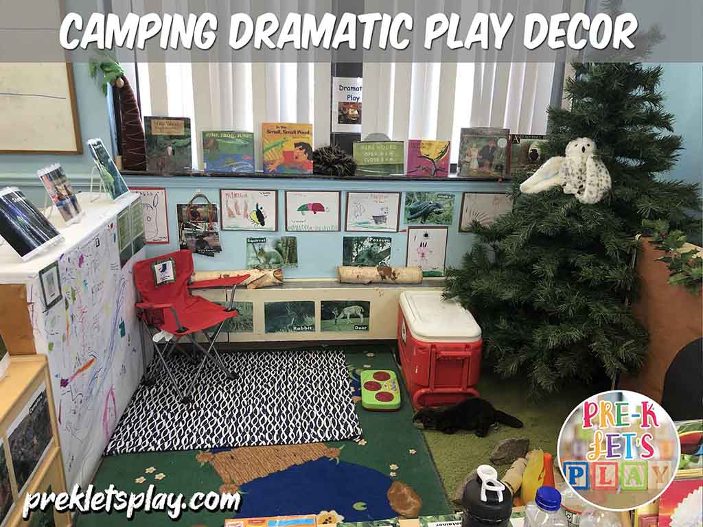Students love to play and learn inside this camping dramatic play theme. This pretend play area features tons of classroom decor to make this imiginative play space look like a campsite and woodlands.