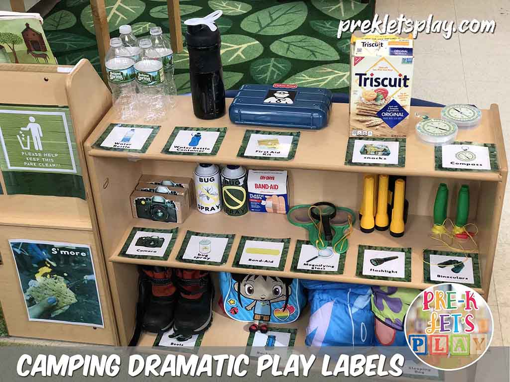 Props and labels for dramatic play camping theme. Your students will love using this section to support their pretend play.