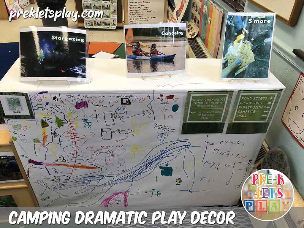 Students made a map of the woodlands for this camping dramtaic play theme. This classroom design idea encouarges the use of pretend play. Your students will love to learn and play all things camping and the woodlands. Also great for encouaging preschool art and fine motor skills practice.