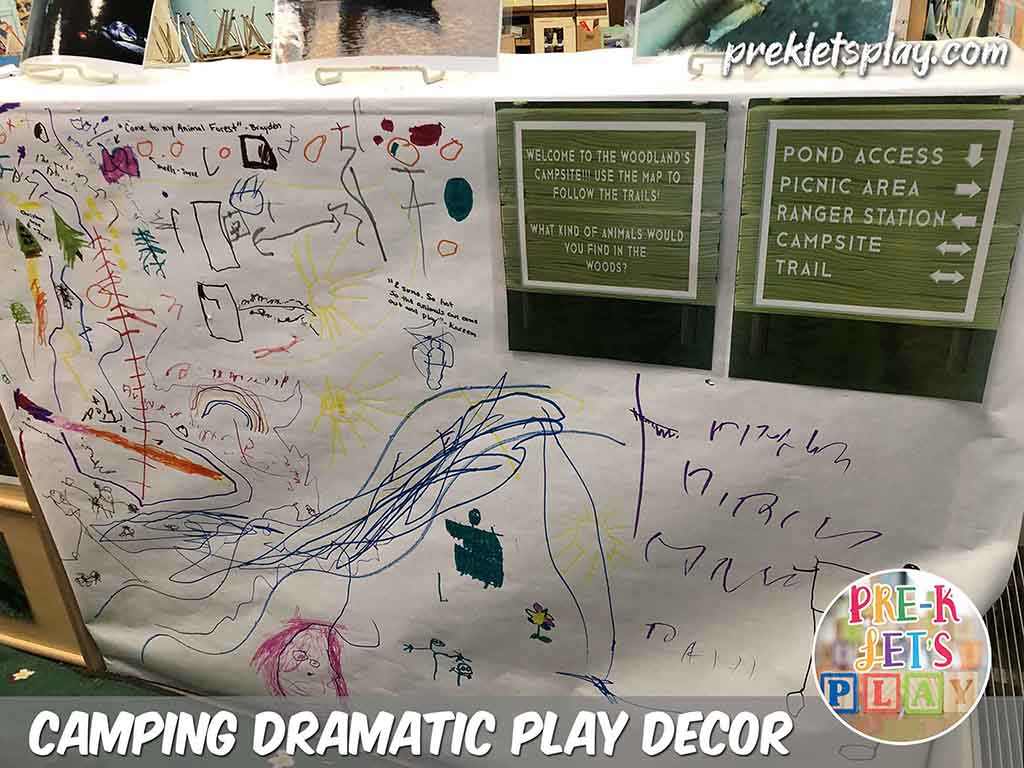 A great classroom design idea for your camping dramatic play center is to furniyure as a prop. Here I placed large white poster board paper onto the back shelves. Students love it and can turn this section into a map area of the woodlands. This is great for classroom decor and showcasing their preschool art.