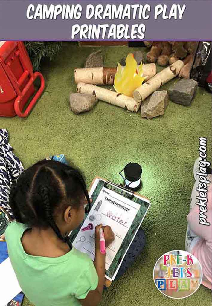 Student writing a list of items needed for her dramatic play camping trip. These preschool printables are great for practicing writing skills. Use this style of play based learning in classroom today.