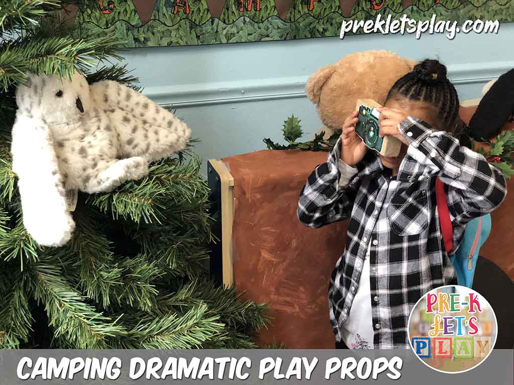 Students love to play and learn with pretend play props in the camping dramatic play center. A classroom favorite is to turn a block into a pretend camera and take pictures of stuffed woodland animals, Download this Prek Let's Play resource and get more great prop ideaslike this for imaginative preschool play.