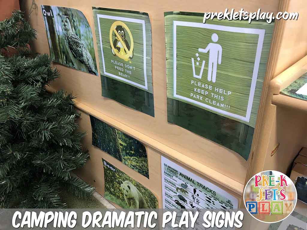 Dramatic play camping signs. These signs helps your students pretend play and learn all about camping.