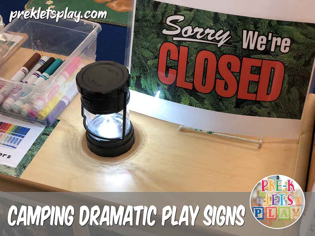 Closed sign dramatic play camping center. This Signs helps reminds your students whether this area is open or closed for pretend play.