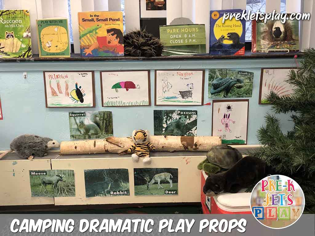 Transform your dramatic play area into the woodlands by adding props as your preschool classroom decor. This style of imaginative preschool play encouarages your students to use pictures, preschool books related to camping, stuffed animals, and even their preschool art as props for this theme.