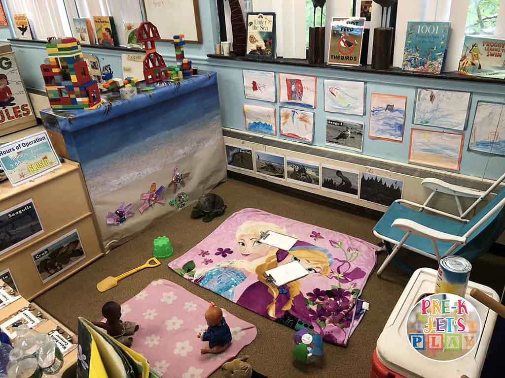 dramatic play beach ideas for summer time preschool fun from Pre-k Let's Play