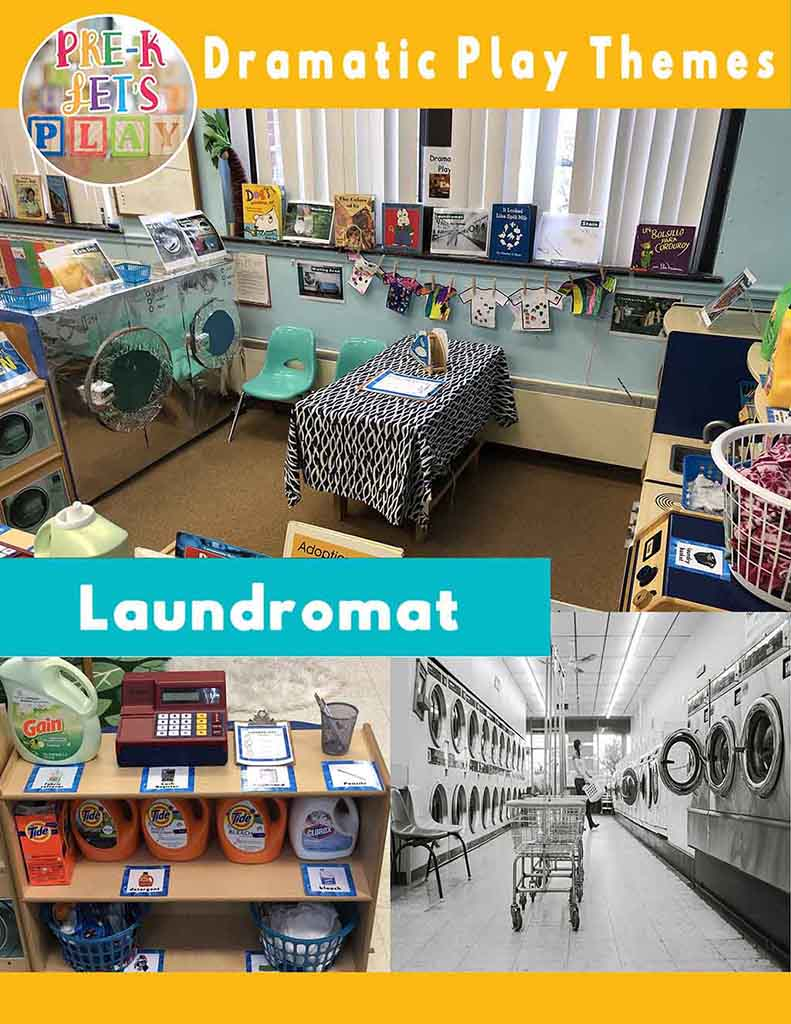 Dramatic play laundromat resource for pretend play. Your students will have so much preschool fun using this resource.