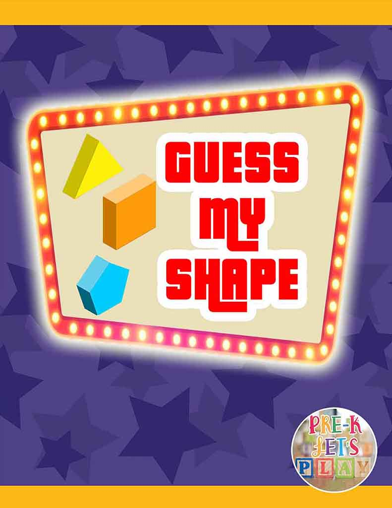 This math game for kids focuses on shapes. Kids will have preschool fun at home with this classroom activity.