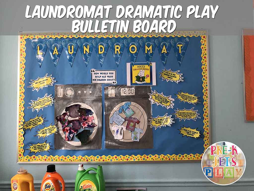 Bulletin board display to represent dramatic play laundromat theme. This board features kids preschool art work and quotes on how they would do laundry. Great way to connect real life experience with pretend play.