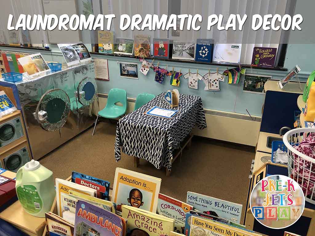 dramatic play transformed into a laundromat for pretend play. Great environment for your students to learn through play.