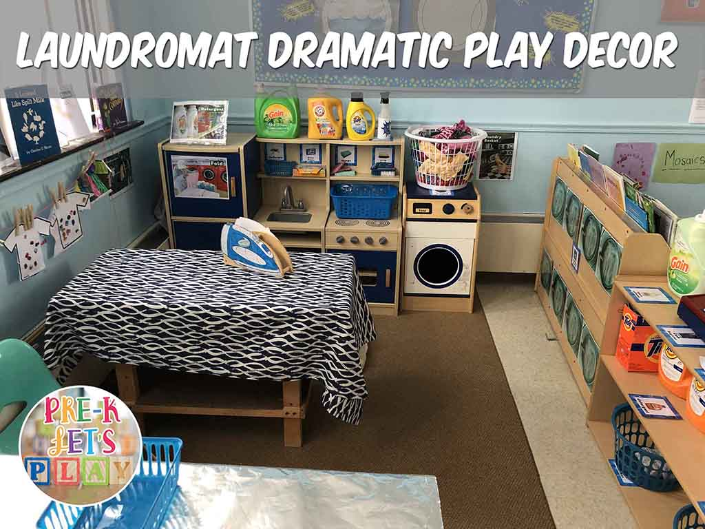 This classroom turns dramatic play into a laundromat. Students love to play and learn with laundry related props.
