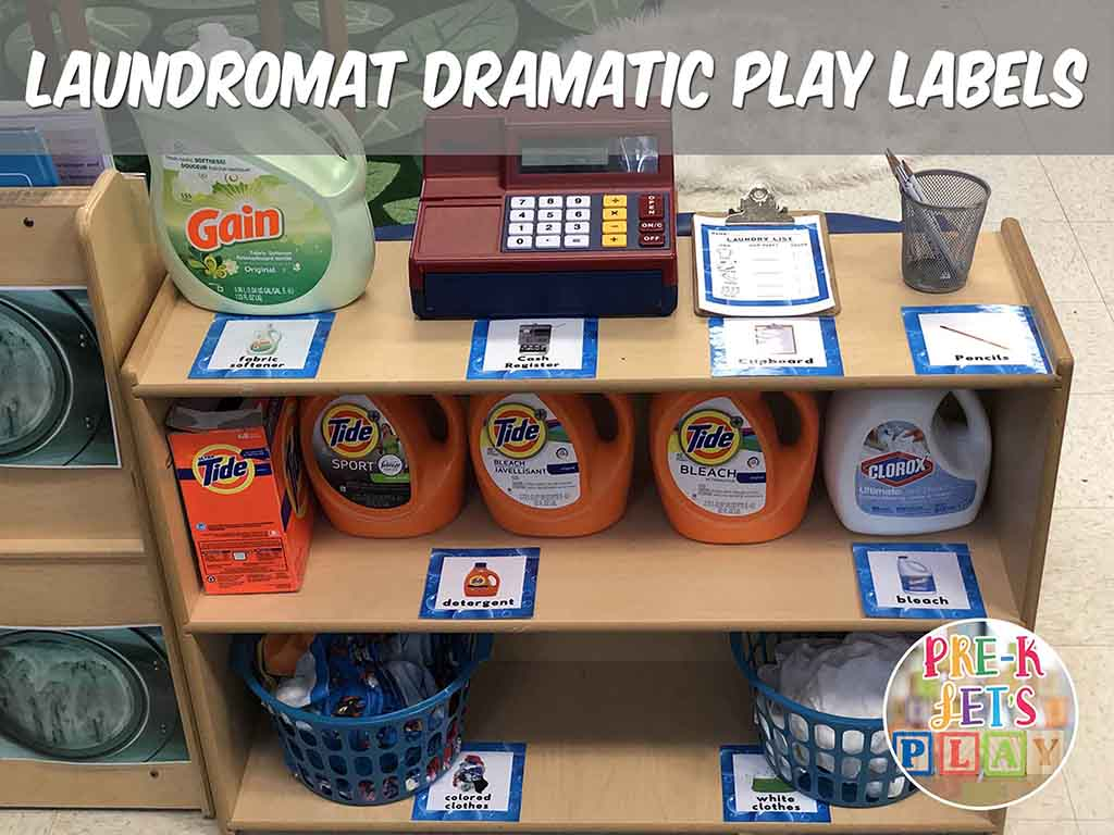 Placing labels all around your dramatic play laundromat is great for pretend play. This also helps your understand the value of print.