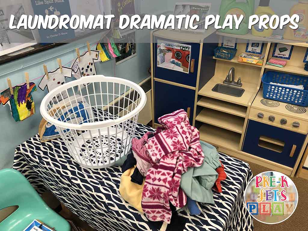 Laundry basket and clothes. These pretend play props are great to use for your dramatic play laundromat.