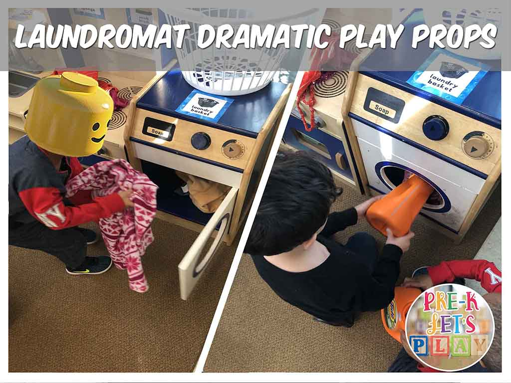 Students using laundry props to clean clothes for pretend play. Your students will love this dramatic play laundromat theme.