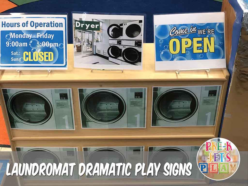 signs for your dramatic play laundromat. These signs let students know when it is time to play in this dramatic play theme.