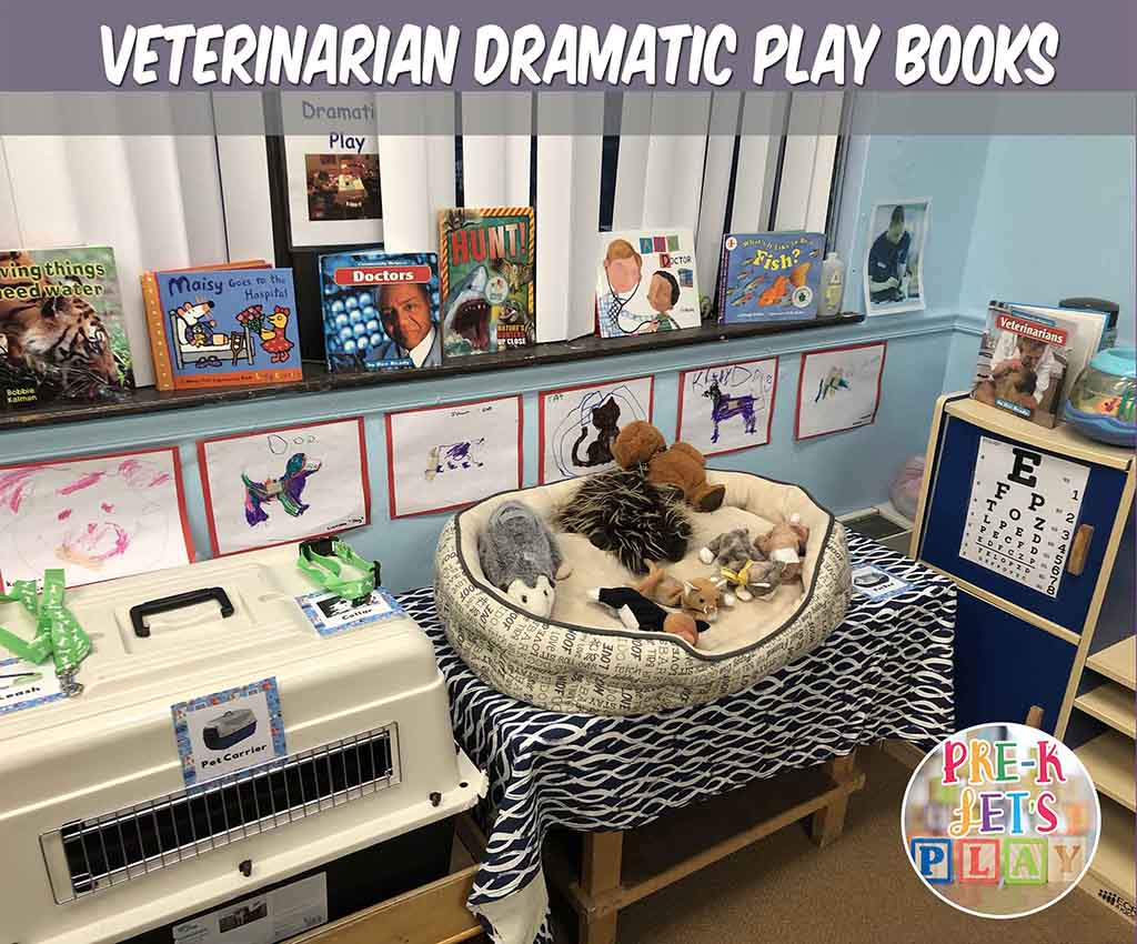 Placing books all around your pet vet dramatic play is great for pretend play. These books are animal related or talk about veterinarians. Great for kids education.