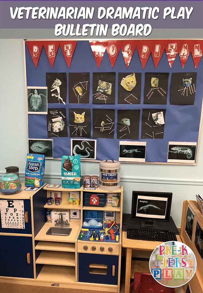 pet vet dramatic play bulletin board idea for preschool. This board is filled with preschool art activities to support this dramatic play theme.