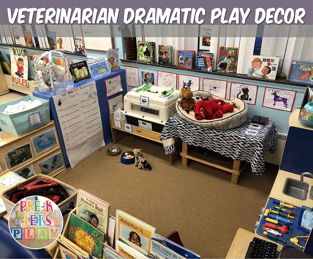 A pet vet clinic is a great preschool theme for pretend play. This dramatic play theme offers tons of play based learning ideas for your students. They will enjoy this setup and have so much preschool fun.