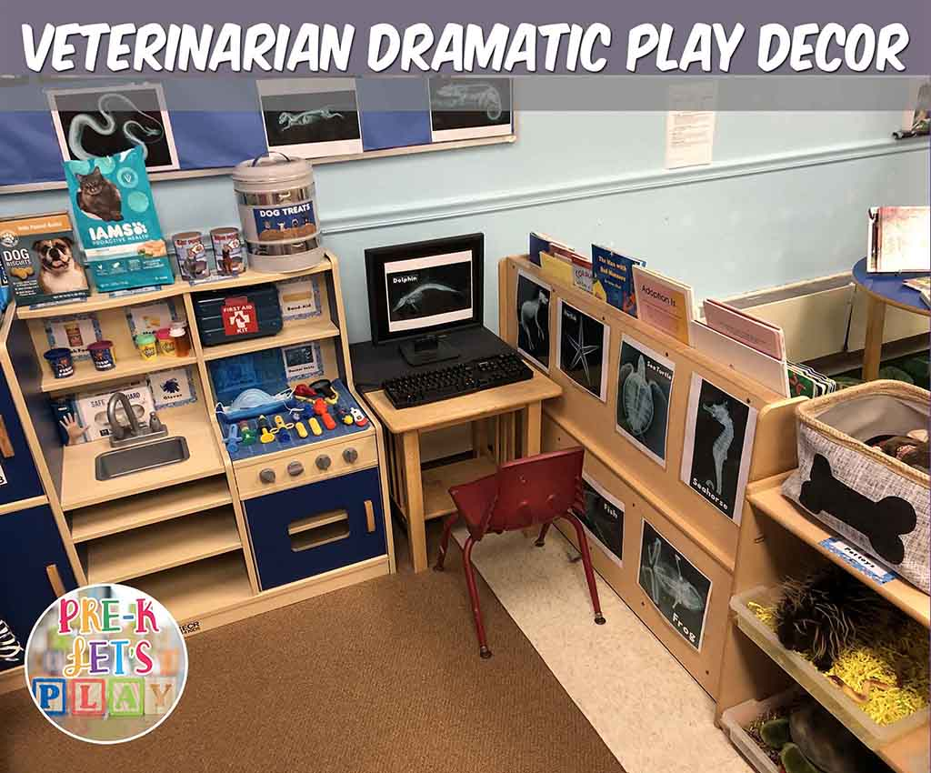 teacher tips on how to decorate your dramatic play center to look like a pet vet.