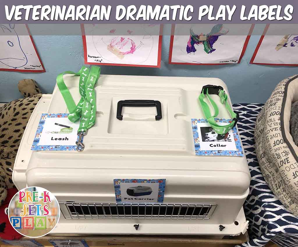Labels help students know where theses pet vet items belong in dramatic play.