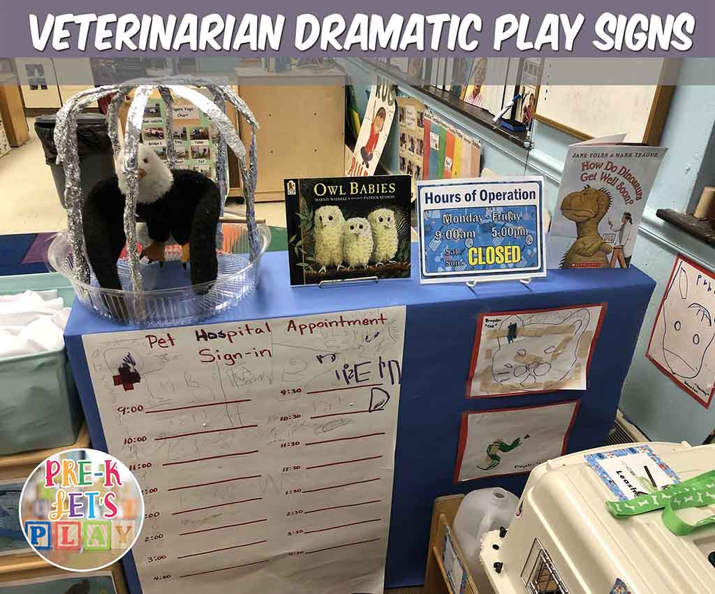 students love to sign-in their names for appointments at the pretend play animal hospital. This play based learning helps students practice their handwriting skills.