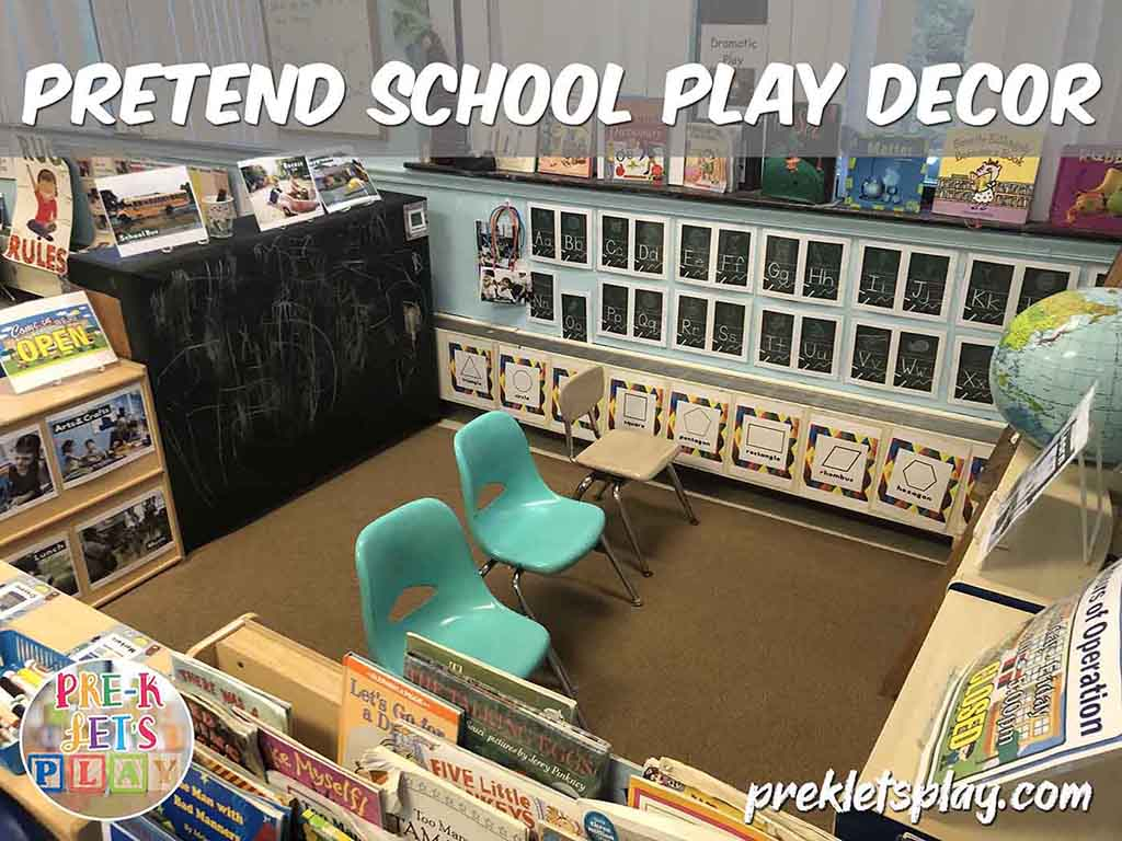 Setup of dramatic play pretend school area for preschoolers. Kids will pretend to teach, learn and play in this area.