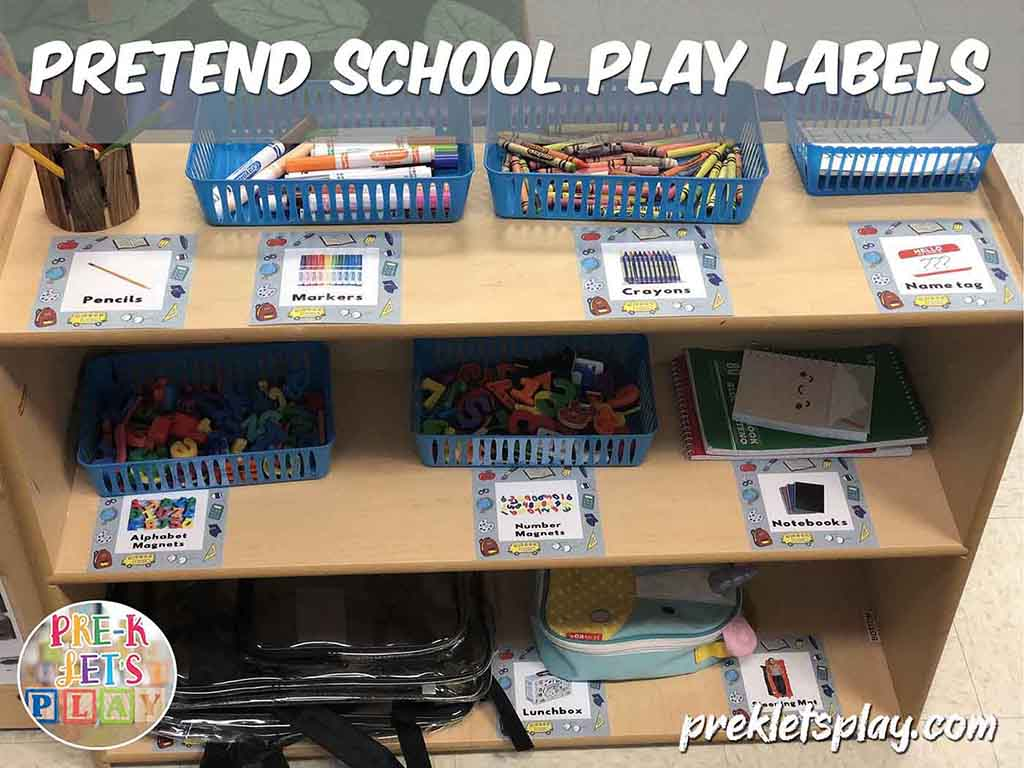 School props and labels for pretend school dramatic play area.