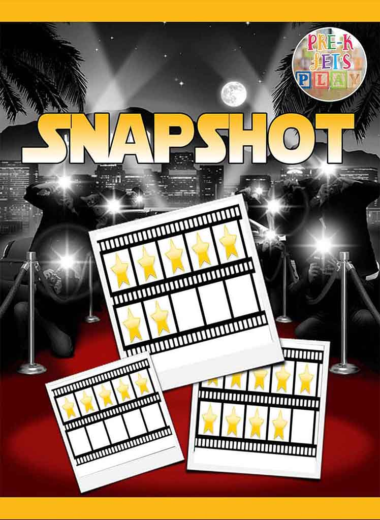 Educational game cover of Pre-K Let's Play's math game called Snapshot. This is a great math game for kids.