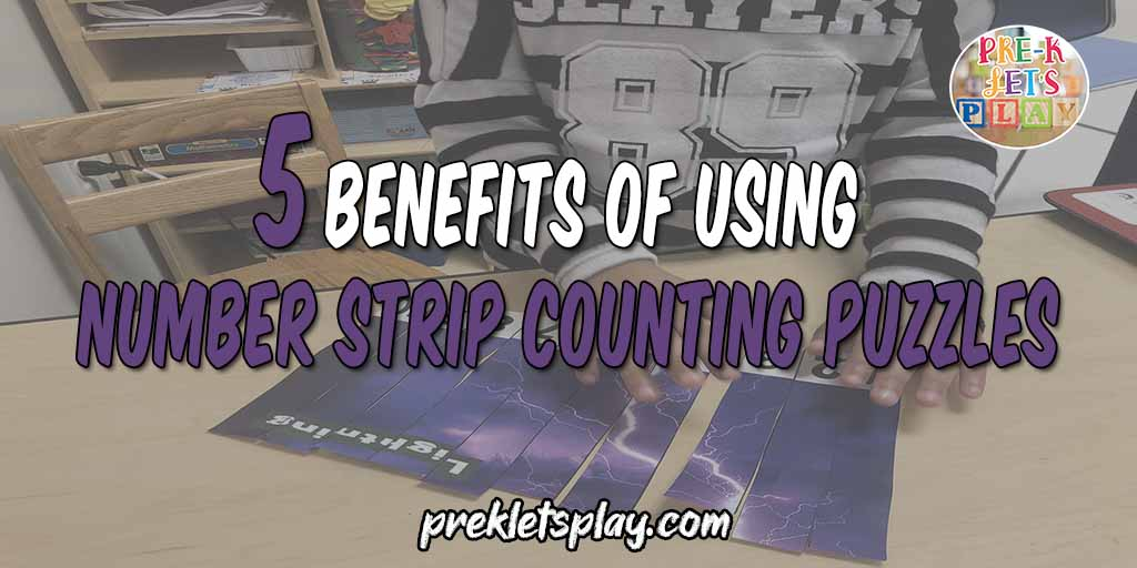 kid using counting number strip puzzles in preschool small group math centers
