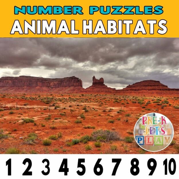 number strip puzzle cover of a desert This counting game activity helps kids practice number recognition and also helps identify other animal habitats.