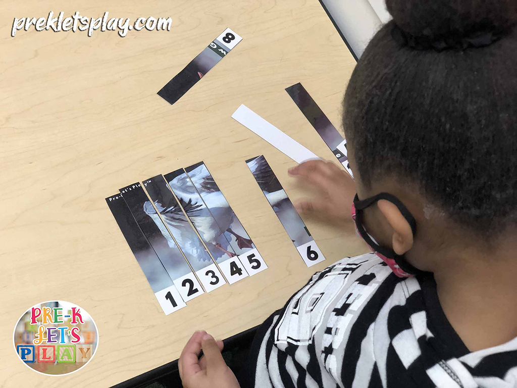 Girl using counting puzzles of a snow goose to practice number order, number recognition, and counting from 1-10.