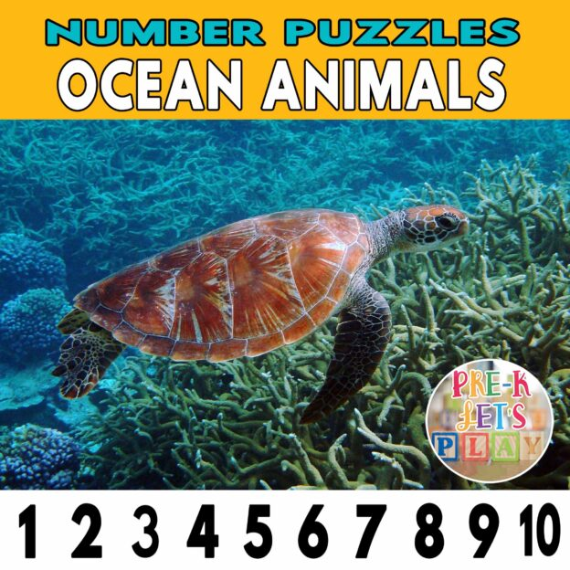 number strip puzzle cover of a sea turtle. This counting game activity helps kids practice number recognition and also helps identify other ocean animals.