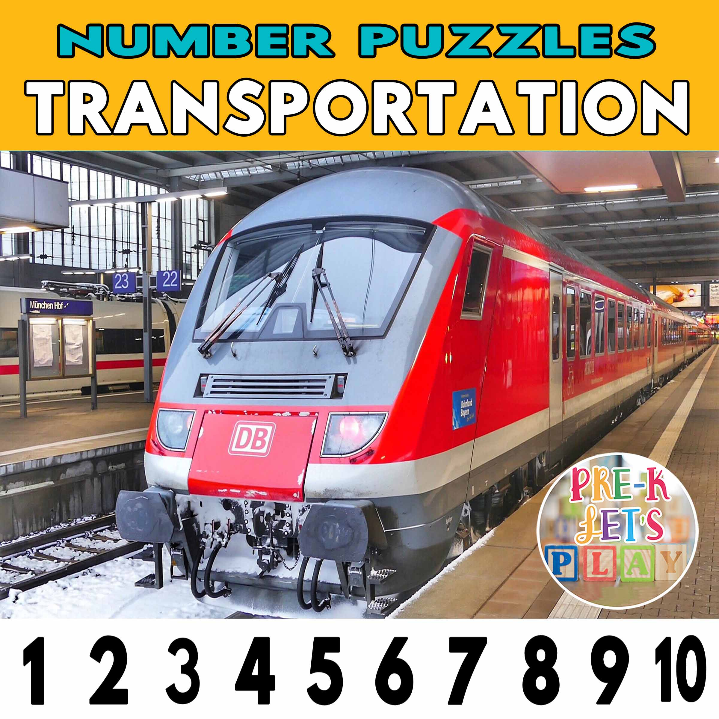 number strip puzzle cover of a train. This counting game activity helps kids practice number order and identify other transportation number puzzles.