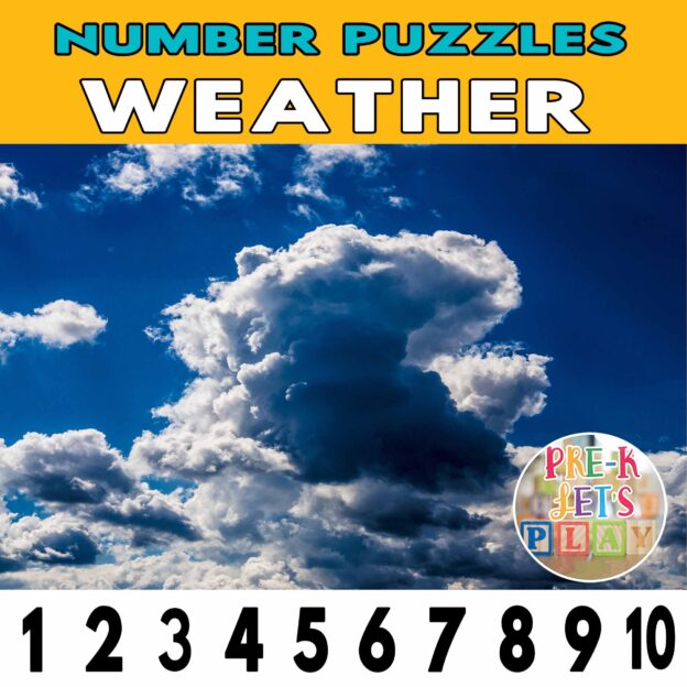 number strip puzzle cover of clouds. This counting game activity helps kids practice number sequence and identify other weather climates.