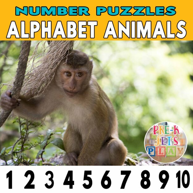 number strip puzzle cover of a monkey. This counting game activity helps kids practice number order, letter sounds, and identify other alphabet animals.