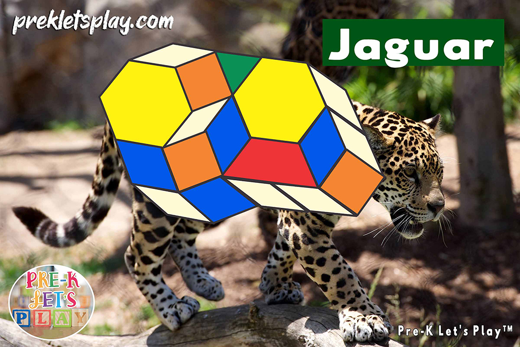 Jaguar with the body made up of colored math block patterns