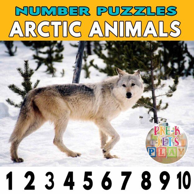 number strip puzzle cover of a wolf This counting game activity helps kids practice number recognition and identify other arctic animalss.
