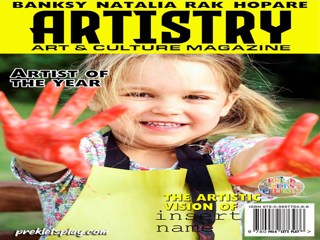 Creative pretend Juxtapoz art magazine design. This pretend magazine cover features a happy girl showing her painted hands