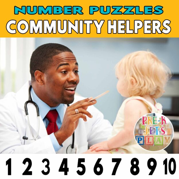 number strip puzzle cover of a doctor helping his baby patient. This counting game activity helps kids practice number order and identify other community helpers