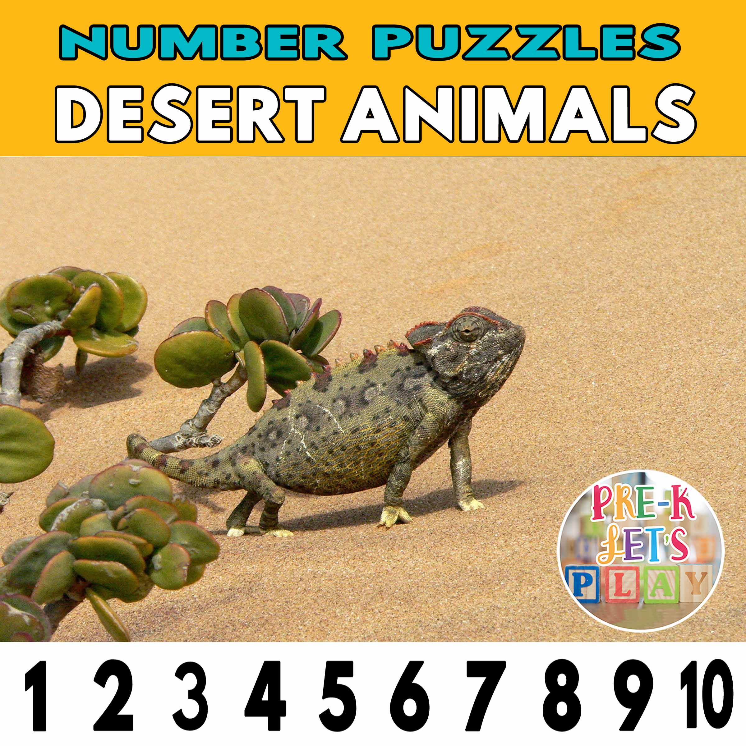 number strip puzzle cover of a chameleon. This counting game activity helps kids practice number order and identify other desert animals.
