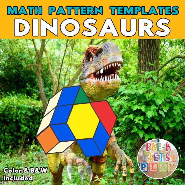 Cover of T-rex with its body made up of colored math block patterns