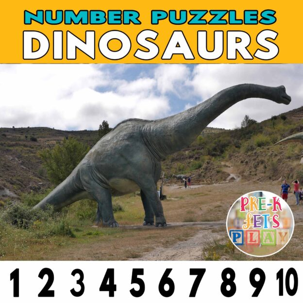 number strip puzzle cover of a dinosaur. This counting game activity helps kids practice number order.
