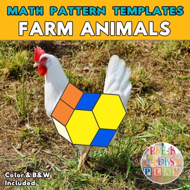 Colored math pattern blocks templates of chicken in grass