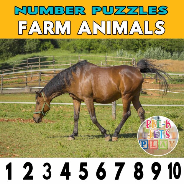 number strip puzzle cover of a horse. This counting game activity helps kids practice number sequence and also helps identify other farm animals.