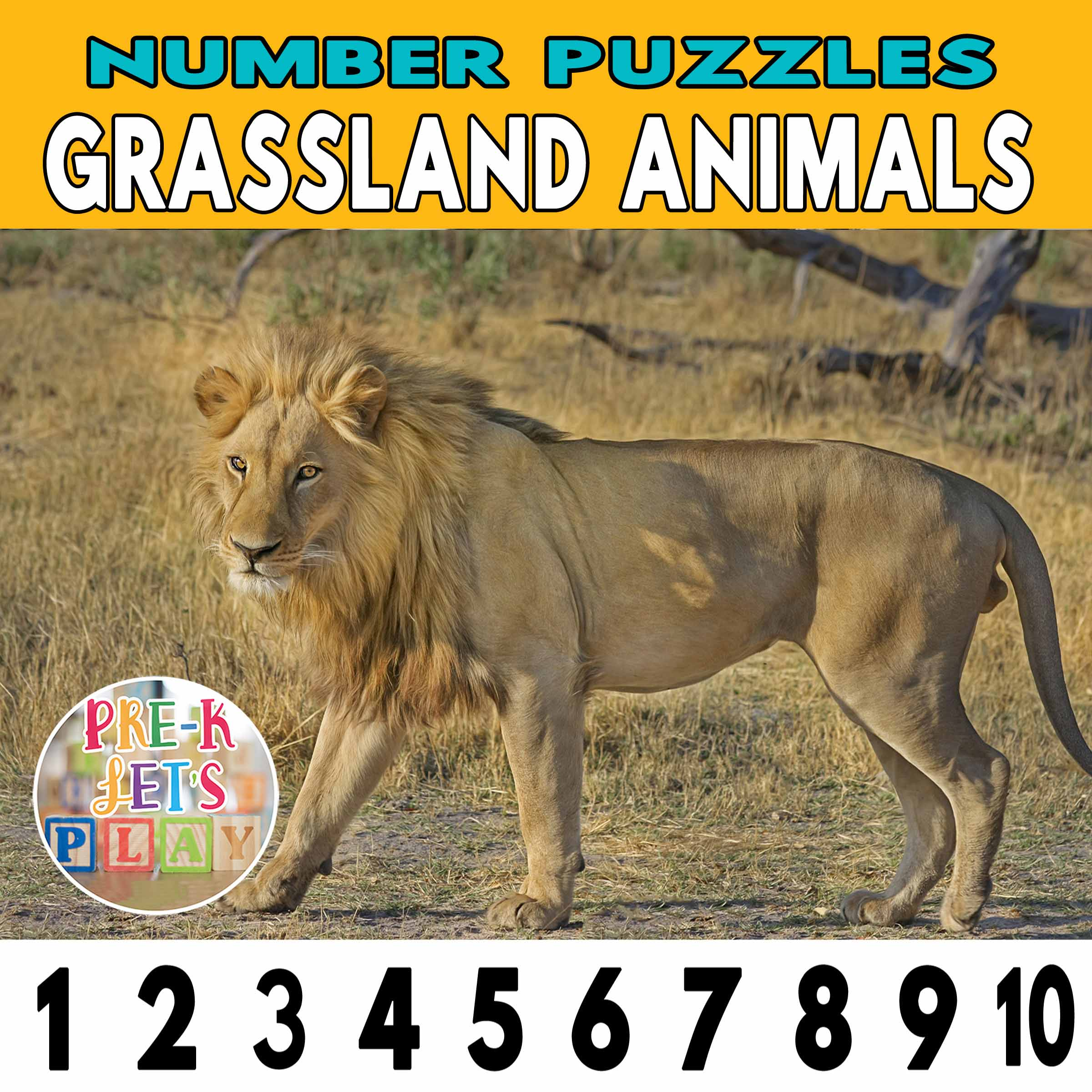 number strip puzzle cover of a lion. This counting game activity helps kids practice number recognition and identify other grassland animals.